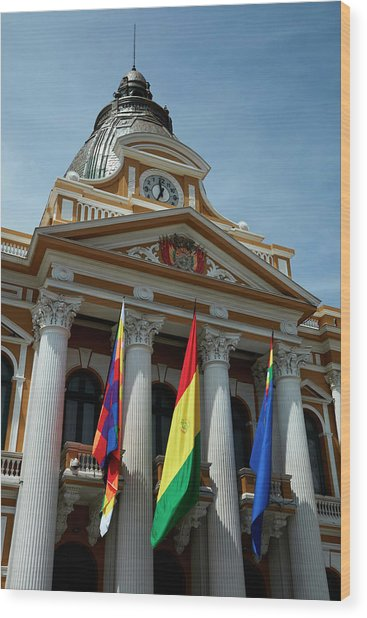 Flags On National Congress Of Bolivia Wood Print