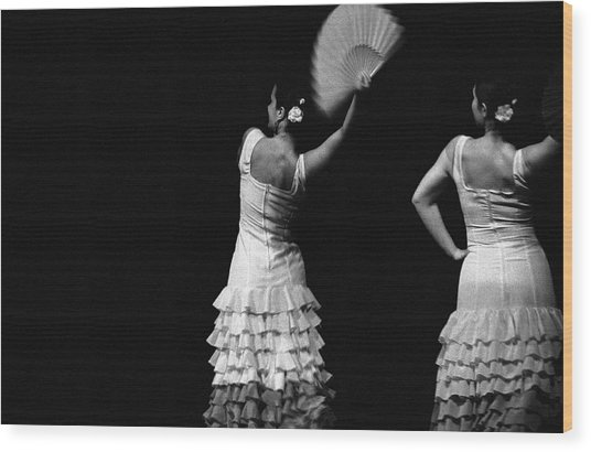Flamenco Lace Fan Wood Print by T-immagini