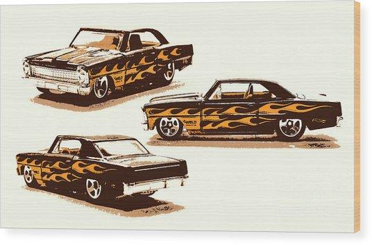 Flamin Chevrolet 66 Nova Wood Print