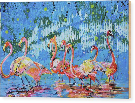 Flamingo Pat Party Wood Print