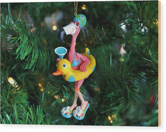 Flamingo Swimmer Wood Print