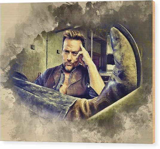 Flanery And His Cowboy Boot Wood Print