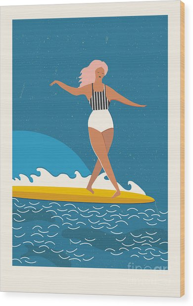 Flat Illustration With Surfer Girl On A Wood Print