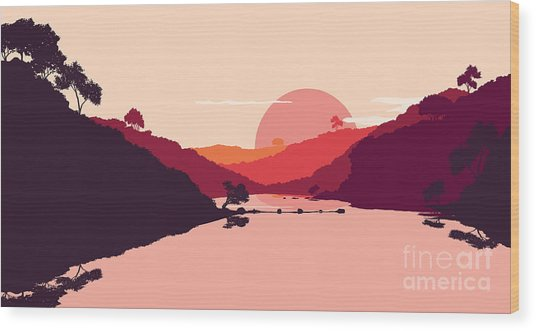 Flat Landscape Of Mountain, Lake And Wood Print