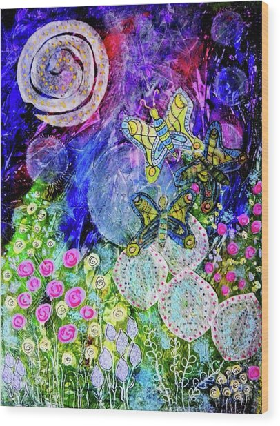 Flight Of The Lunar Moths Wood Print