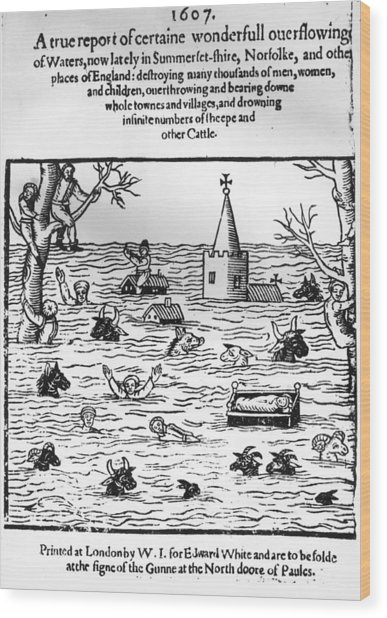 Flooding In England Wood Print by Hulton Archive