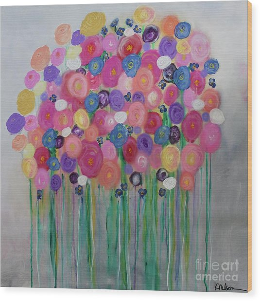 Floral Balloon Bouquet Wood Print