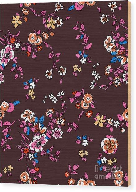 Floral Bohemian Seamless Pattern Wood Print