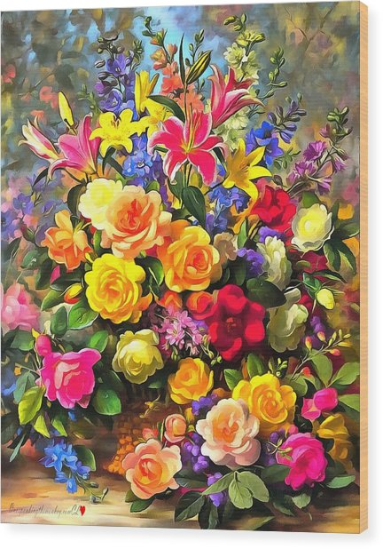 Floral Bouquet In Acrylic Wood Print