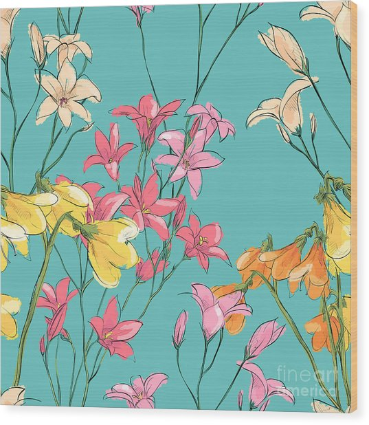 Floral Seamless Pattern. Sketch Style Wood Print