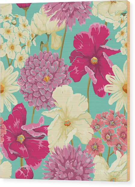 Floral Seamless Pattern With Flowers In Wood Print