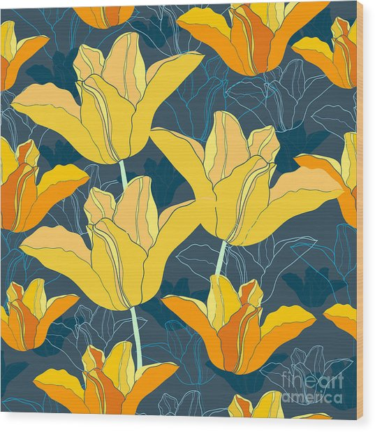 Floral Seamless Pattern With Yellow Wood Print