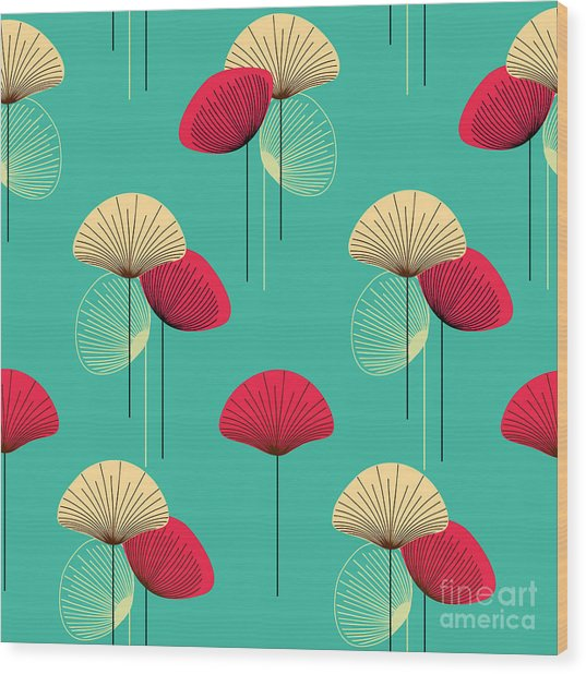 Floral Seamless Vector Pattern Wood Print