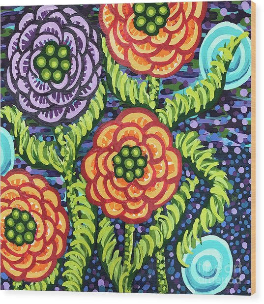 Floral Whimsy 5 Wood Print