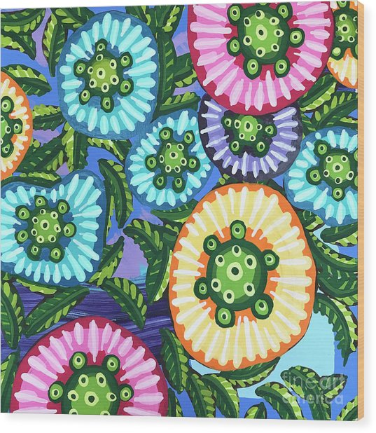 Floral Whimsy 6 Wood Print