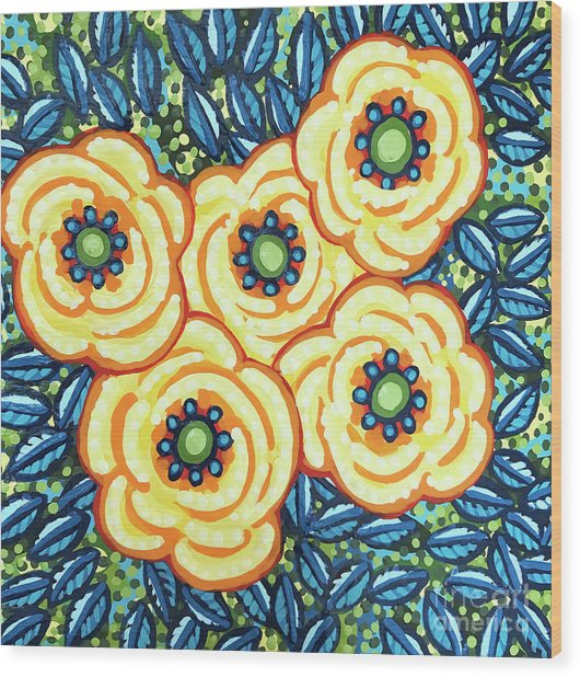 Floral Whimsy 7 Wood Print