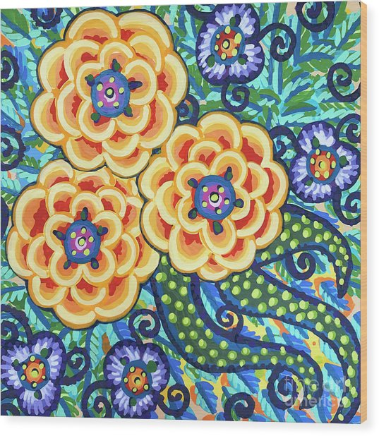 Floral Whimsy 9 Wood Print