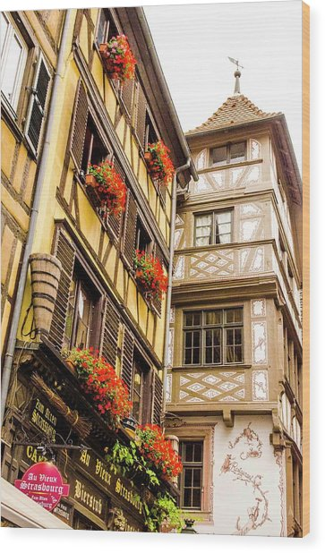 Flower Boxes Strasbourg Wood Print