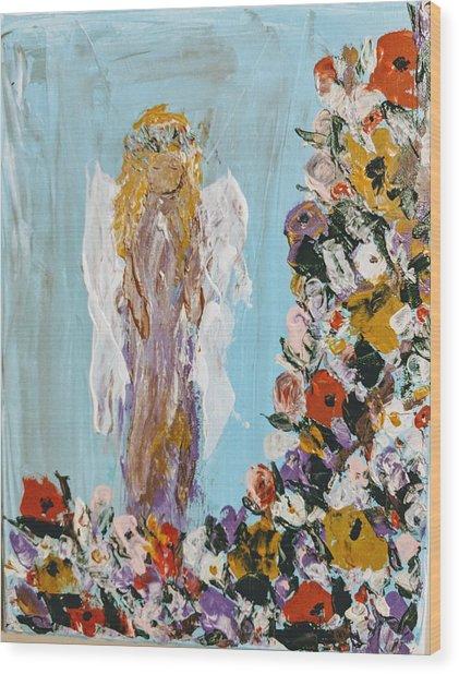 Flower Child Angel Wood Print