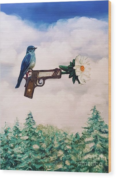 Flower In A Gun- Bluebird Of Happiness Wood Print