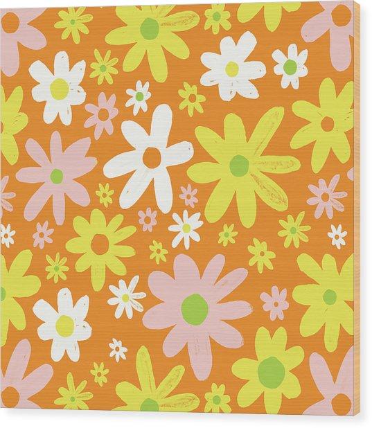 Flower Power Pattern Wood Print