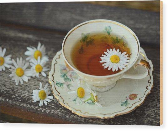 Flower Tea Wood Print
