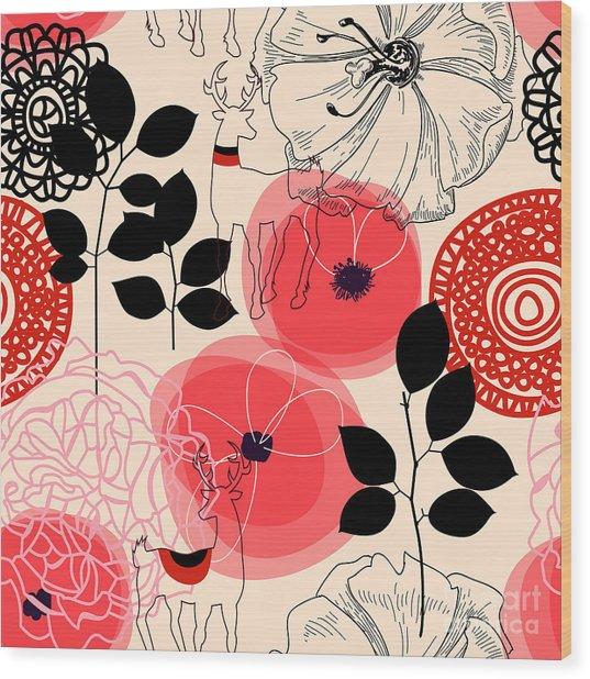 Flowers And Deers Seamless Pattern Wood Print