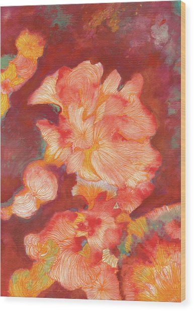 Flowers At Dusk - #ss19dw006 Wood Print by Satomi Sugimoto