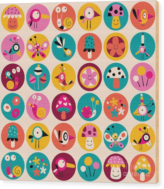 Flowers, Birds, Mushrooms & Snails Wood Print