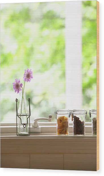 Flowers In Vase And Dried Fruits In Wood Print
