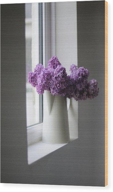 Flowers On Sill Wood Print
