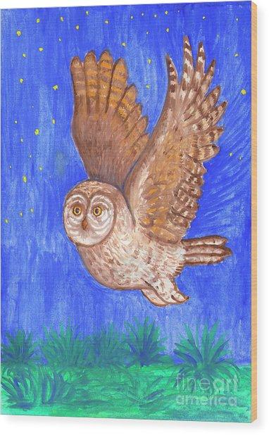 Flying Owl Wood Print