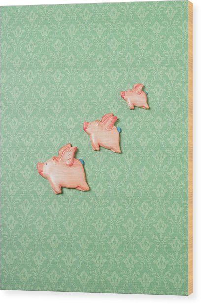 Flying Pig Ornaments On Wallpapered Wood Print