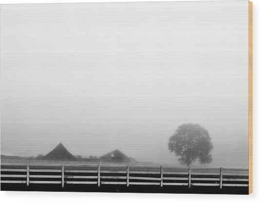 Fog And The Farm Wood Print