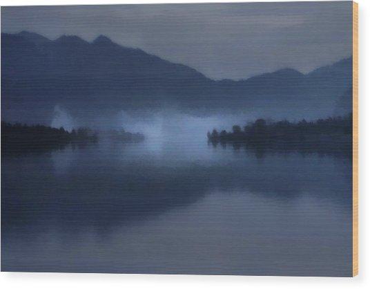 Wood Print featuring the digital art Fog On The Dark Mountain Lake by Menega Sabidussi