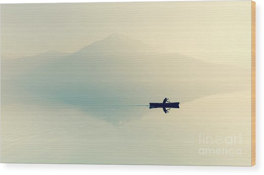 Fog Over The Lake. Silhouette Of Wood Print by Maryna Patzen