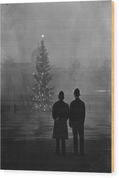 Foggy Christmas Wood Print