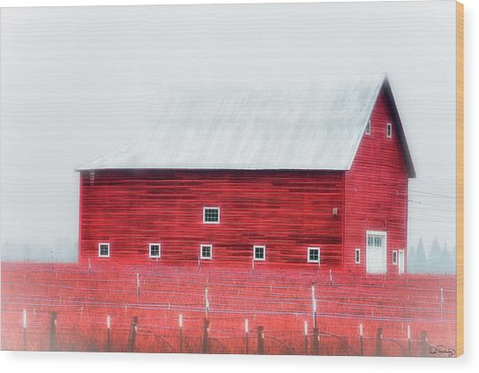 Wood Print featuring the photograph Foggy Country Scene by Dee Browning