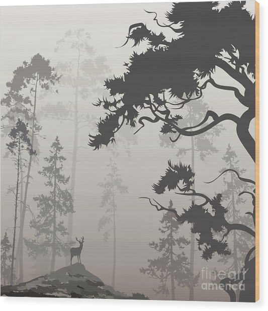 Foggy Landscape With Silhouette Of Wood Print