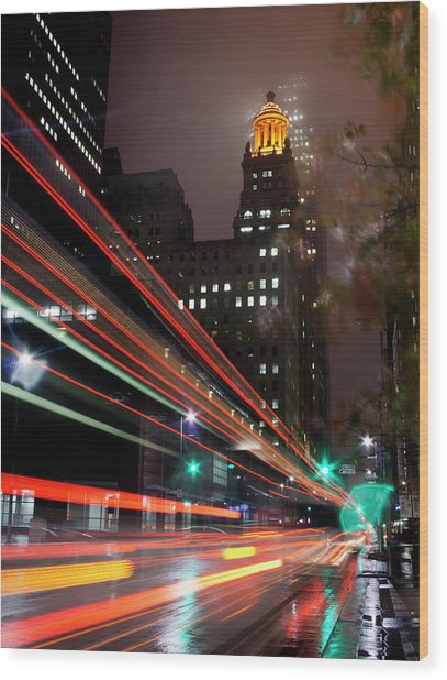 Foggy Night, City Lights Wood Print by Bill Barfield