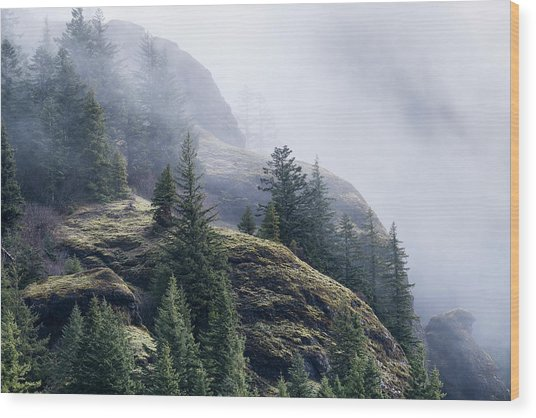Foggy On Saddle Mountain Wood Print