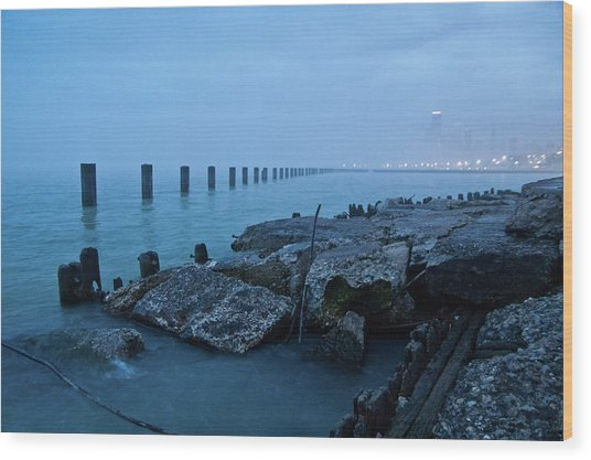 Foggy View Of Chicago From Lakeshore Wood Print by Megan Ahrens