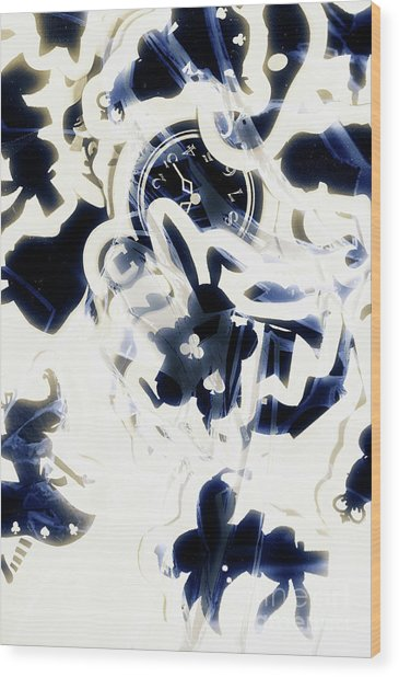 Follow The Blue Rabbit Wood Print