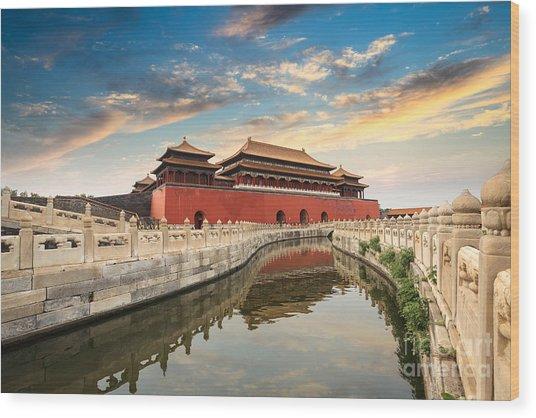 Forbidden City In Beijing,china Wood Print