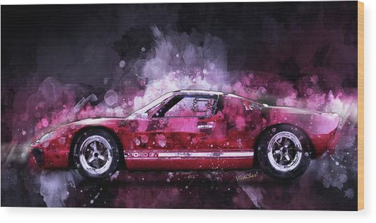 Ford Gt 40 Night Moves Wood Print