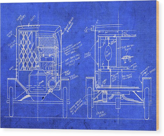 Ford Model T Paddywagon Vintage Blueprints Wood Print