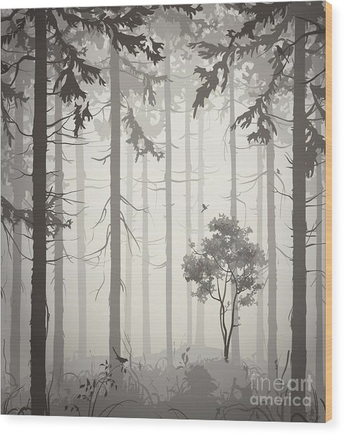 Forest Air Landscape With Birds, Light Wood Print