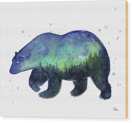 Forest Bear Galaxy Wood Print