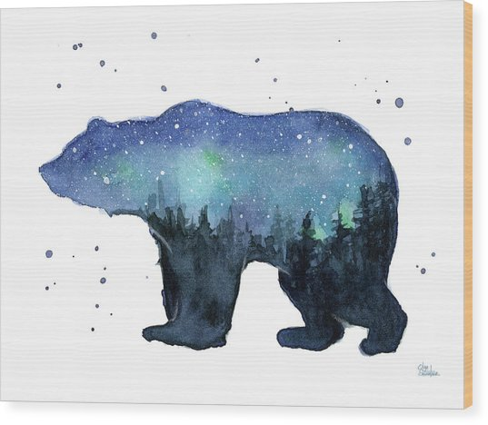 Forest Bear Watercolor Galaxy Wood Print