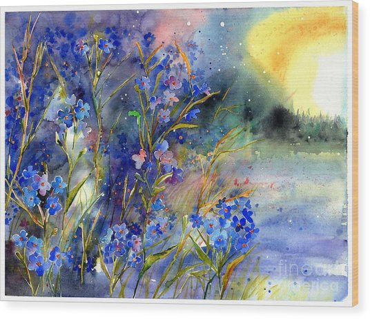 Forget-me-not Watercolor Wood Print